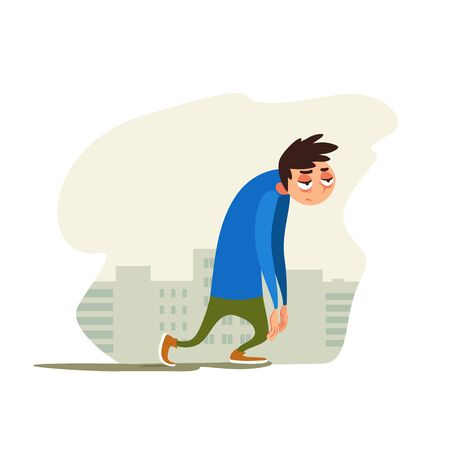 Tired young man against background of the city. Joyless guy plod on gray street. Vector illustration with weary character. Emotional condition. Flat emotion.