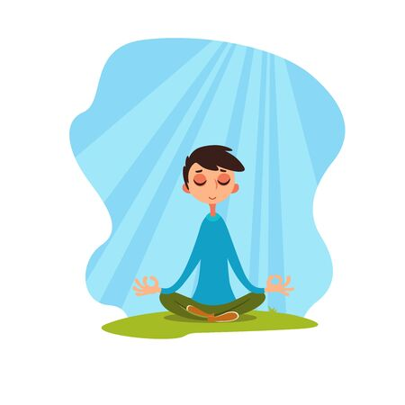 Young man meditating in a flood of light. Guy relaxes against a cloudless sky. Emotional condition. Vector illustration with cartoon character. Soul balance. Flat emotion.