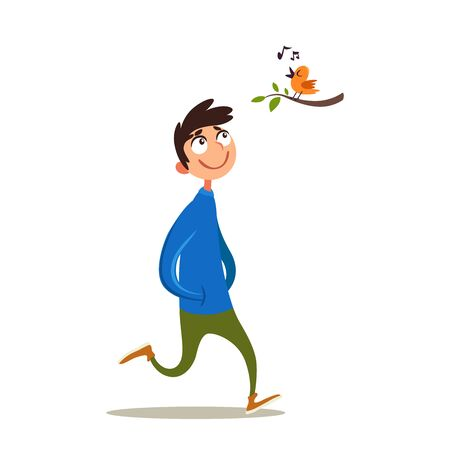 Happy young man is touched by a singing bird. Joyful smiling guy outdoor. Enjoy the little things. Emotional condition. Vector illustration with glad character. Flat emotion.