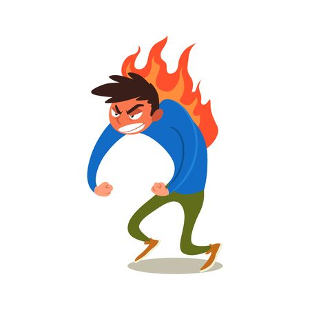 Angry young man with red face. Rampage guy burning with rage. Vector illustration of frenzy character isolated on white. Flat emotion.