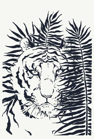 Vector hand drawn illustration of tiger hidden in palm leaves. Ink sketch of wild animal on floral background.