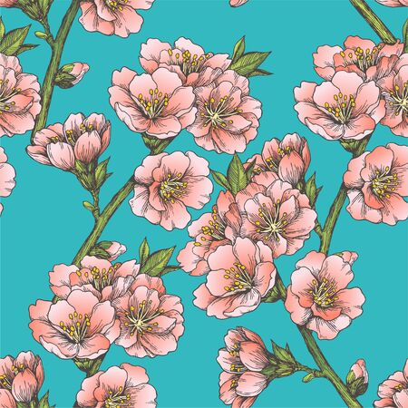 Vector seamless pattern with almond blossom. Hand drawn texture with apple tree flowers in engraving style. Spring blooming branches.