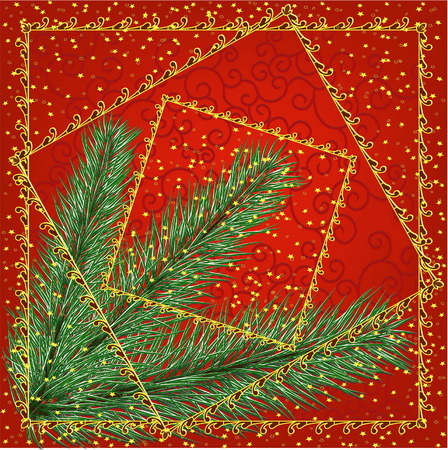 bough: red christmas fon with bough of Christmas tree