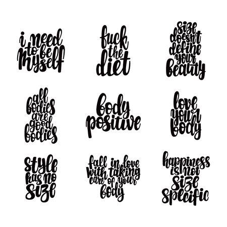 Corps, amour, positif, vecteur, texte, lettrage, graisse, vie, anorexie, art, régime, manger, féministe, main, dessin, motiver, plus, taille, heureux, surpoids, ensemble, collection, eslogan, affiche