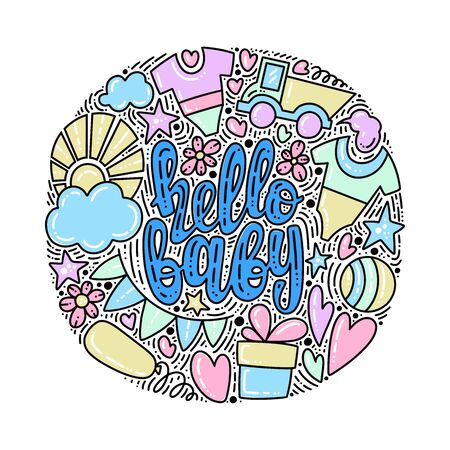 Vector illustration of Hello Baby. Baby shower theme. Lettering design for card, invitation, party and other