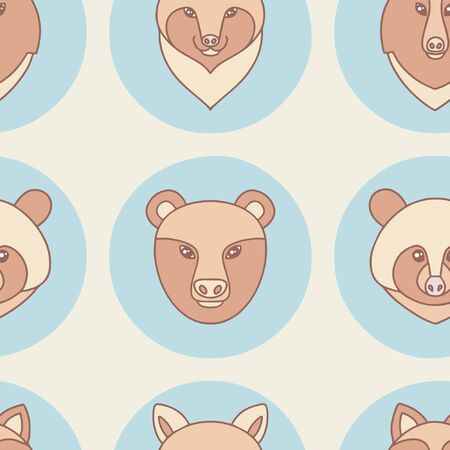 Forest animals collection. Vector illustration. Seamless pattern
