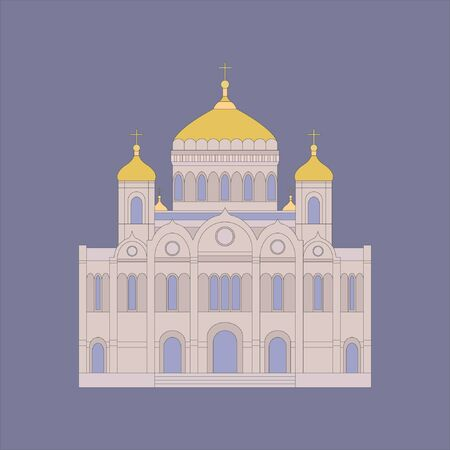 Vector illustration of Cathedral of Christ the Savior. Moscow building. Flat Style. Russia country symbol 向量圖像