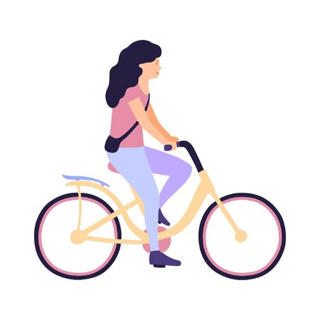 Vector illustration of woman on bicycle. Riding bike. Flat style Çizim