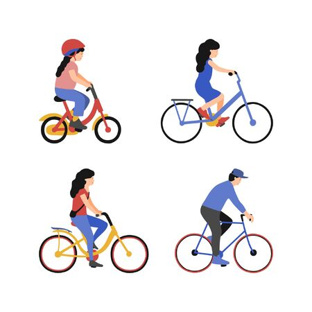 Set of woman, man and children on bicycles. Group of people riding bikes. Vector collection. Flat style Векторная Иллюстрация