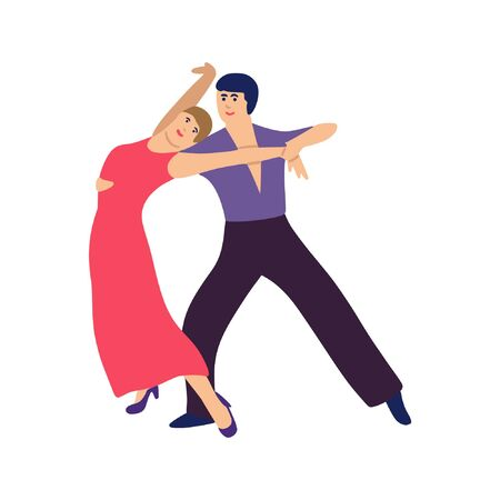 Illustration of pair of dancer. Man and woman performing dance at school or studio, party. Flat vector style 向量圖像