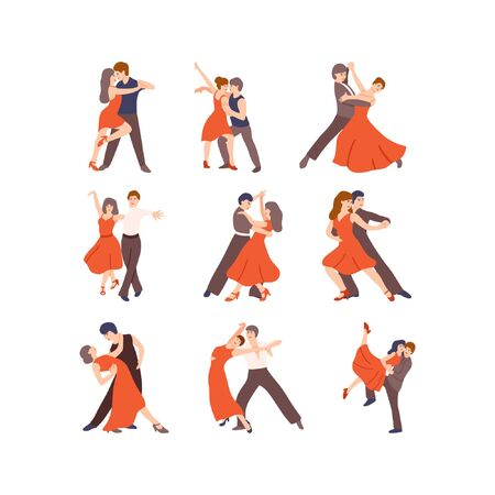 Collection of pairs of dancers. Men and women performing dance at school, studio, party. Male and female dancing different styles. Flat vector illustration Vetores