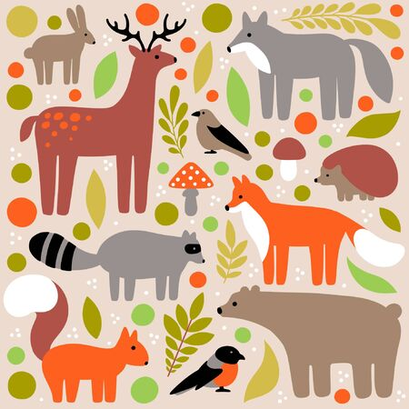 Flat style illustration with deer, fox, bear, squirrel, bird, wolf, hare, hedgehog. Vector set of forest animals with elements (leaves)