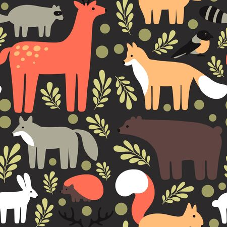 Flat style pattern with deer, fox, bear, squirrel, bird, wolf, hare, hedgehog. Vector seamless background of forest animals with elements (leaves)