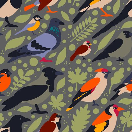 Flat style pattern with pigeon, crow, magpie, bullfinch, sparrow, goldfinch, waxwing, tit, jackdaw,  redpoll. Vector seamless background of wintering birds with elements (leaves) Ilustracja