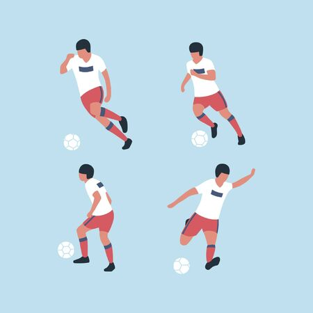 A collection of football players isolated on a light background. Colorful flat vector illustration.