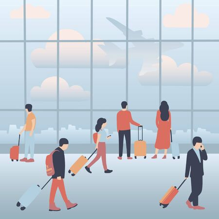 A collection of people in airport terminal. Colorful flat vector illustration.