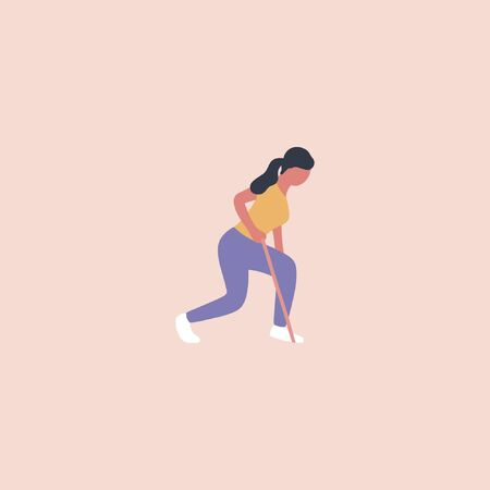 Illustration of young woman doing different exercises with resistance band isolated on a light background. Colorful flat vector illustration.