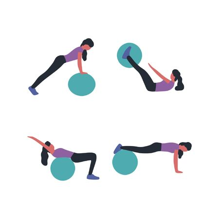 A collection of young women doing different exercises with fitball isolated on a light background. Colorful flat vector illustration.