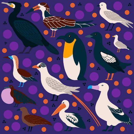 Vector set of seabirds in a flat style isolated on background. Atlantic seabirds Vektoros illusztráció