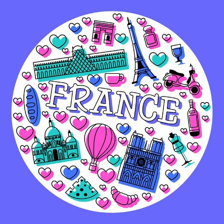 France cartoon travel vector map, French symbols and other, decorative poster flat style for design tourism