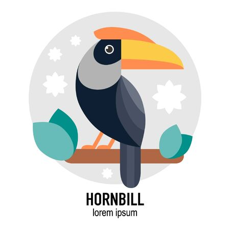 Hornbill bird vector flat illustration with leaves