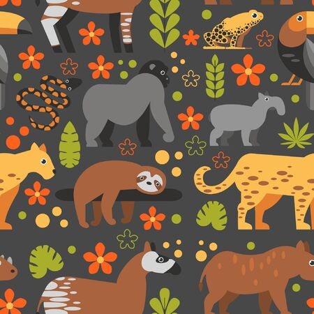 Flat style pattern with Toucan, Sloth, Okapi, Jaguar and other types of tropical animals. Vector seamless pattern of Tropical animals with flowers and leaves. Çizim