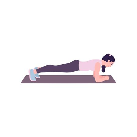 Illustration of young woman performing exercises isolated on a light background. Colorful flat vector illustration. Ilustracja