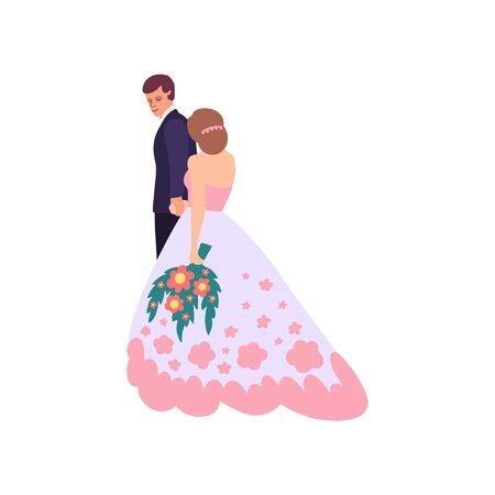 Flat style illustration with bride and groom