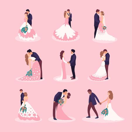 Flat style illustration with bride and groom. Vector set Vetores