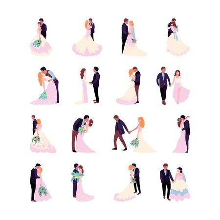 Flat style illustration with bride and groom. Vector set