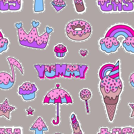 Seamless pattern of rainbow, crown, donut, cupcake, heart, note, ice cream, star, umbrella, lollipop and other. Ilustracja
