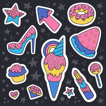 Cartoon illustration set of cupcake, diamond, star, heart, lollipop, watermelon and other. Design for embroidery, sticker or pin