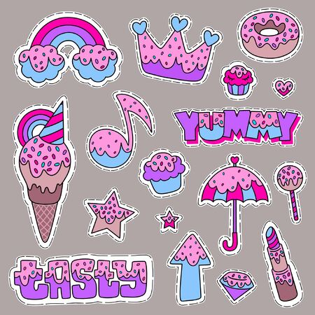 Cartoon illustration set of rainbow, crown, donut, cupcake, heart, note, ice cream, star, umbrella, lollipop and other. Design for embroidery, sticker or pin