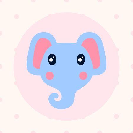 Flat and cartoon style illustration with elephant
