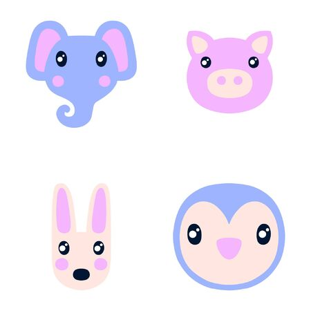 Flat style illustration with elephant, pig and other animals. Cartoon vector set Иллюстрация