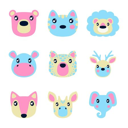 Flat style illustration with bear, cat, lion and other animals. Cartoon vector set