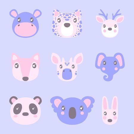 Flat style illustration with hippopotamus, tiger, deer, fox and other animals. Cartoon vector set Иллюстрация