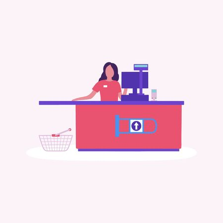 Illustration of cashier at the supermarket . Colorful flat vector drawing.