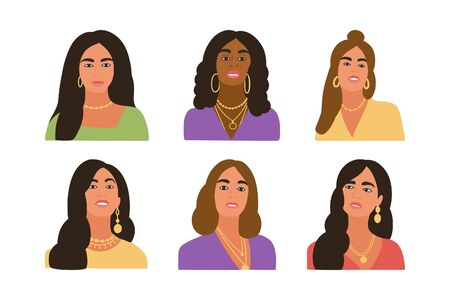 Collection of female portraits. Girls posing for the camera in fashionable clothes. Colorful flat vector drawing.