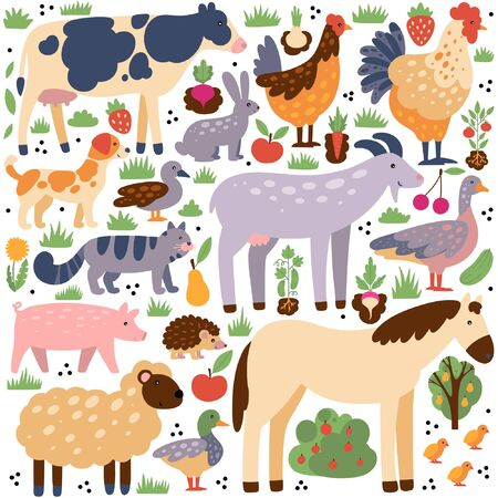 Ð¡ollection of farm animals and birds with elements.