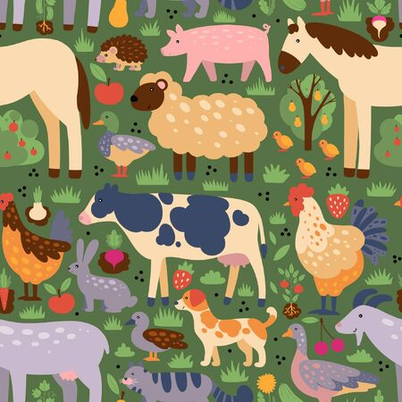 Pattern of farm animals and birds with elements.Colorful flat vector drawing.