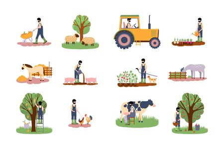 Collection of illustrations on the theme of farm. Harvesting and watering, feeding animals, milking a cow, working on a tractor.Colorful flat vector drawing.
