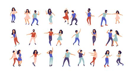 Collection of dancing people. Men and women performing dance at school, studio, party. Male and female dancing different styles. Flat vector illustration