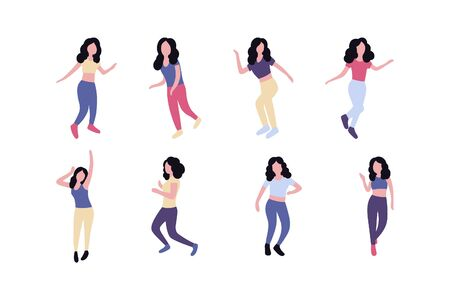 Collection of dancing women. Women performing dance at school, studio, party. Female dancing different styles. Flat vector illustration