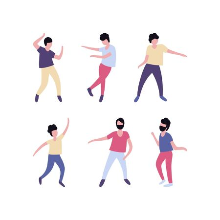 Collection of dancing men. Men performing dance at school, studio, party. Male dancing different styles. Flat vector illustration