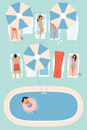 illustration of a pool with people. Men and Women sunbathe in the sun. Vacation at pool. View from above. Colorful flat vector drawing.