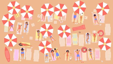 illustration of a beach with people. Men and Women sunbathe in the sun. Vacation at sea. View from above. Colorful flat vector drawing.