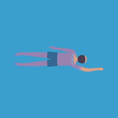 illustration of man who swims. View from above. Colorful flat vector drawing.