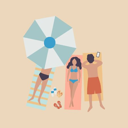 illustration of woman and man on the beach. People sunbathe in the sun. Vacation at sea. View from above. Colorful flat vector drawing.