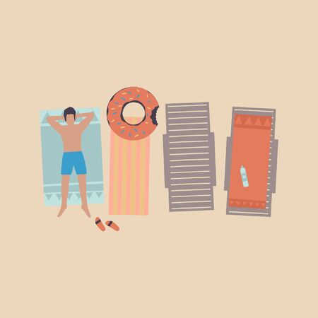 illustration of man on the beach. man sunbathe in the sun. Vacation at sea. View from above. Colorful flat vector drawing.